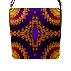 Something Different Fractal In Orange And Blue Flap Messenger Bag (l)  by Simbadda