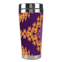 Something Different Fractal In Orange And Blue Stainless Steel Travel Tumblers by Simbadda