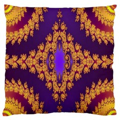 Something Different Fractal In Orange And Blue Large Flano Cushion Case (one Side) by Simbadda