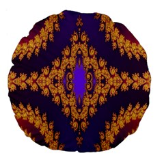 Something Different Fractal In Orange And Blue Large 18  Premium Flano Round Cushions by Simbadda