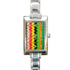 Colorful Liquid Zigzag Stripes Background Wallpaper Rectangle Italian Charm Watch by Simbadda