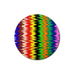 Colorful Liquid Zigzag Stripes Background Wallpaper Rubber Round Coaster (4 Pack)  by Simbadda