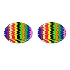 Colorful Liquid Zigzag Stripes Background Wallpaper Cufflinks (oval) by Simbadda