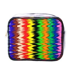 Colorful Liquid Zigzag Stripes Background Wallpaper Mini Toiletries Bags by Simbadda