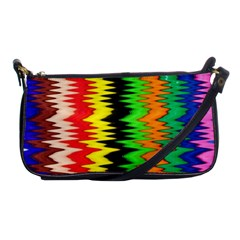 Colorful Liquid Zigzag Stripes Background Wallpaper Shoulder Clutch Bags by Simbadda