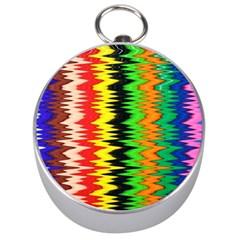 Colorful Liquid Zigzag Stripes Background Wallpaper Silver Compasses by Simbadda