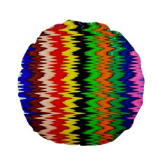 Colorful Liquid Zigzag Stripes Background Wallpaper Standard 15  Premium Flano Round Cushions by Simbadda