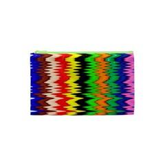 Colorful Liquid Zigzag Stripes Background Wallpaper Cosmetic Bag (xs) by Simbadda