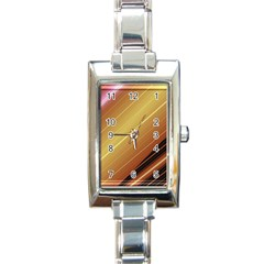 Diagonal Color Fractal Stripes In 3d Glass Frame Rectangle Italian Charm Watch by Simbadda