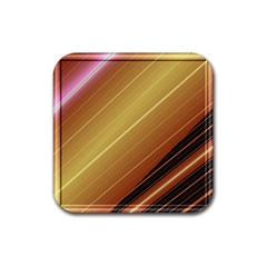 Diagonal Color Fractal Stripes In 3d Glass Frame Rubber Square Coaster (4 Pack)  by Simbadda