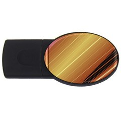 Diagonal Color Fractal Stripes In 3d Glass Frame Usb Flash Drive Oval (4 Gb) by Simbadda