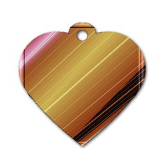 Diagonal Color Fractal Stripes In 3d Glass Frame Dog Tag Heart (one Side) by Simbadda