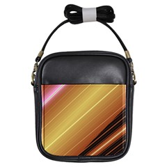 Diagonal Color Fractal Stripes In 3d Glass Frame Girls Sling Bags by Simbadda
