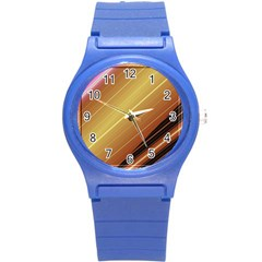 Diagonal Color Fractal Stripes In 3d Glass Frame Round Plastic Sport Watch (s) by Simbadda