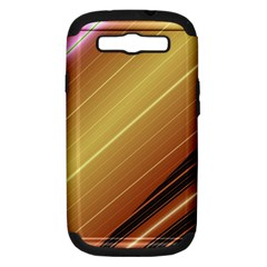 Diagonal Color Fractal Stripes In 3d Glass Frame Samsung Galaxy S Iii Hardshell Case (pc+silicone) by Simbadda