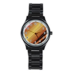 Diagonal Color Fractal Stripes In 3d Glass Frame Stainless Steel Round Watch by Simbadda