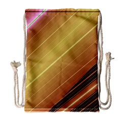 Diagonal Color Fractal Stripes In 3d Glass Frame Drawstring Bag (large) by Simbadda
