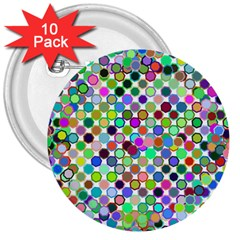 Colorful Dots Balls On White Background 3  Buttons (10 Pack)  by Simbadda