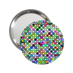 Colorful Dots Balls On White Background 2 25  Handbag Mirrors by Simbadda