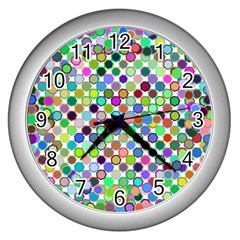 Colorful Dots Balls On White Background Wall Clocks (silver)