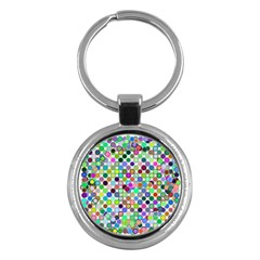 Colorful Dots Balls On White Background Key Chains (round)  by Simbadda