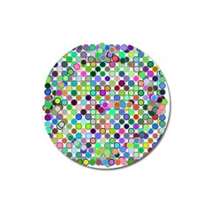 Colorful Dots Balls On White Background Magnet 3  (round) by Simbadda