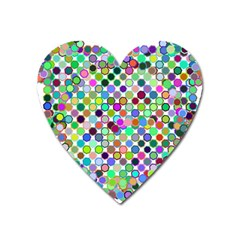 Colorful Dots Balls On White Background Heart Magnet by Simbadda
