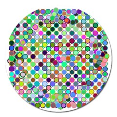 Colorful Dots Balls On White Background Magnet 5  (round) by Simbadda