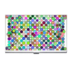 Colorful Dots Balls On White Background Business Card Holders by Simbadda