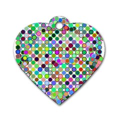 Colorful Dots Balls On White Background Dog Tag Heart (two Sides) by Simbadda