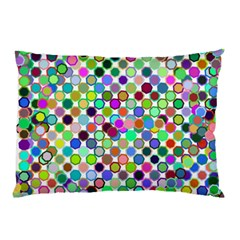 Colorful Dots Balls On White Background Pillow Case by Simbadda