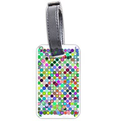 Colorful Dots Balls On White Background Luggage Tags (one Side)  by Simbadda