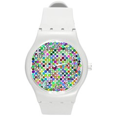 Colorful Dots Balls On White Background Round Plastic Sport Watch (m) by Simbadda