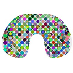 Colorful Dots Balls On White Background Travel Neck Pillows by Simbadda