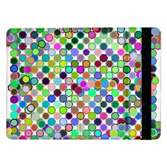 Colorful Dots Balls On White Background Samsung Galaxy Tab Pro 12 2  Flip Case by Simbadda