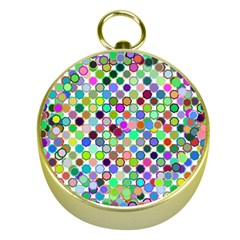 Colorful Dots Balls On White Background Gold Compasses by Simbadda