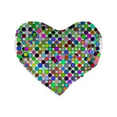 Colorful Dots Balls On White Background Standard 16  Premium Flano Heart Shape Cushions by Simbadda