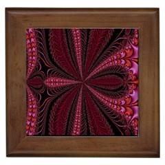 Red Ribbon Effect Newtonian Fractal Framed Tiles by Simbadda