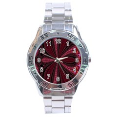 Red Ribbon Effect Newtonian Fractal Stainless Steel Analogue Watch by Simbadda