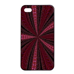 Red Ribbon Effect Newtonian Fractal Apple Iphone 4/4s Seamless Case (black) by Simbadda