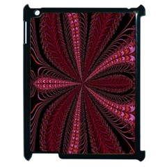 Red Ribbon Effect Newtonian Fractal Apple Ipad 2 Case (black) by Simbadda