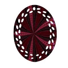 Red Ribbon Effect Newtonian Fractal Oval Filigree Ornament (two Sides) by Simbadda