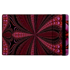 Red Ribbon Effect Newtonian Fractal Apple Ipad 2 Flip Case by Simbadda