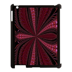 Red Ribbon Effect Newtonian Fractal Apple Ipad 3/4 Case (black) by Simbadda