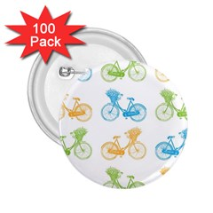 Vintage Bikes With Basket Of Flowers Colorful Wallpaper Background Illustration 2 25  Buttons (100 Pack)  by Simbadda