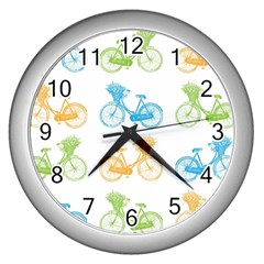 Vintage Bikes With Basket Of Flowers Colorful Wallpaper Background Illustration Wall Clocks (silver)  by Simbadda