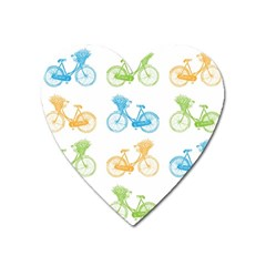 Vintage Bikes With Basket Of Flowers Colorful Wallpaper Background Illustration Heart Magnet by Simbadda