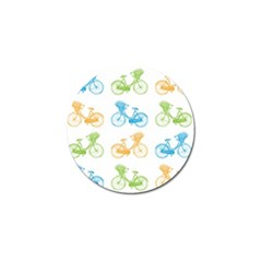 Vintage Bikes With Basket Of Flowers Colorful Wallpaper Background Illustration Golf Ball Marker by Simbadda