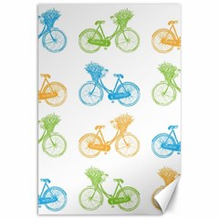 Vintage Bikes With Basket Of Flowers Colorful Wallpaper Background Illustration Canvas 20  X 30   by Simbadda