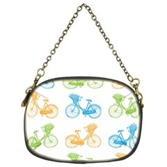 Vintage Bikes With Basket Of Flowers Colorful Wallpaper Background Illustration Chain Purses (one Side)  by Simbadda